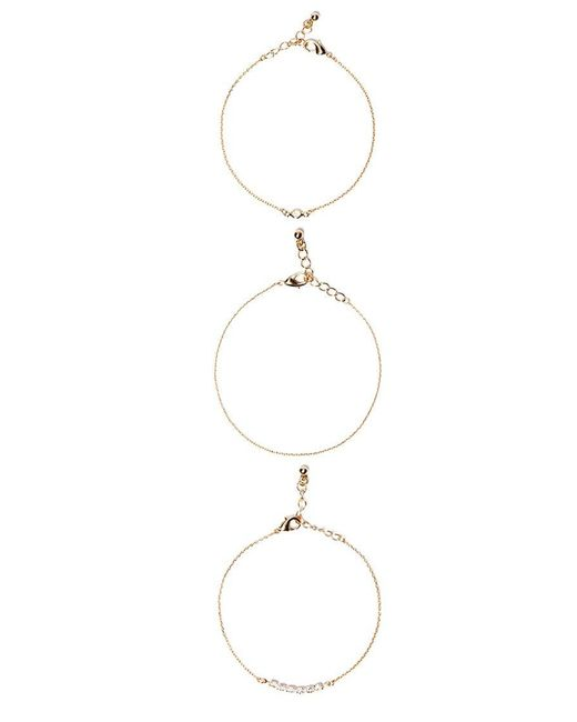 Forever 21 - Metallic Rhinestone Bracelet Set - Lyst