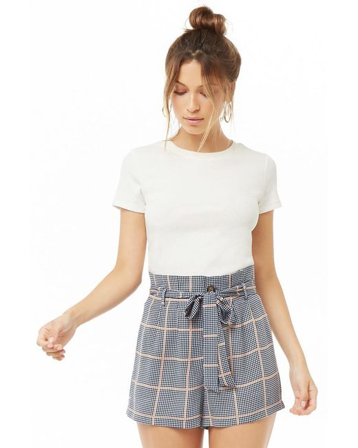 Forever 21 - White Houndstooth Grid Paperbag Shorts - Lyst