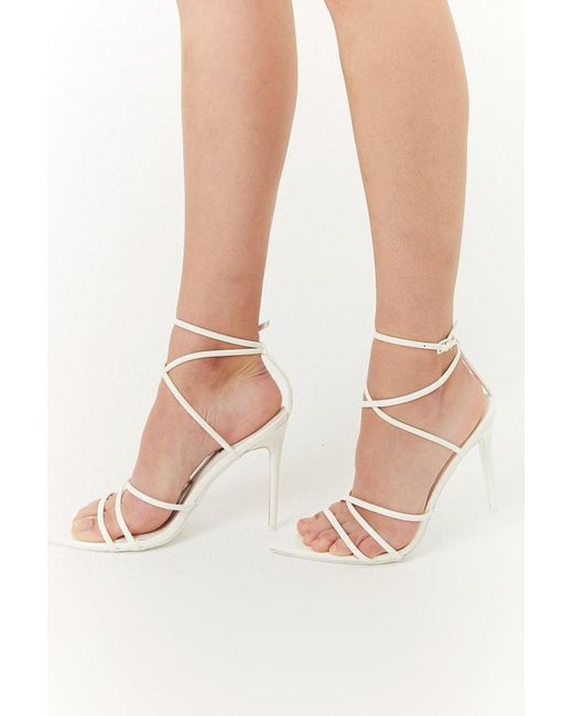 82fde93a0a09 Forever 21 - White Strappy Ankle-strap Heels - Lyst ...