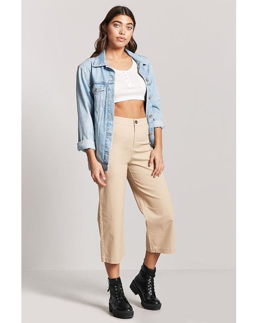 0e69bb1361e Forever 21 - Natural Cropped Wide-leg Chino Pants - Lyst ...
