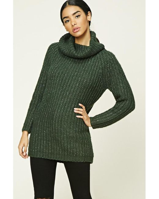 Forever 21 | Green Marled Knit Cowl-neck Jumper | Lyst