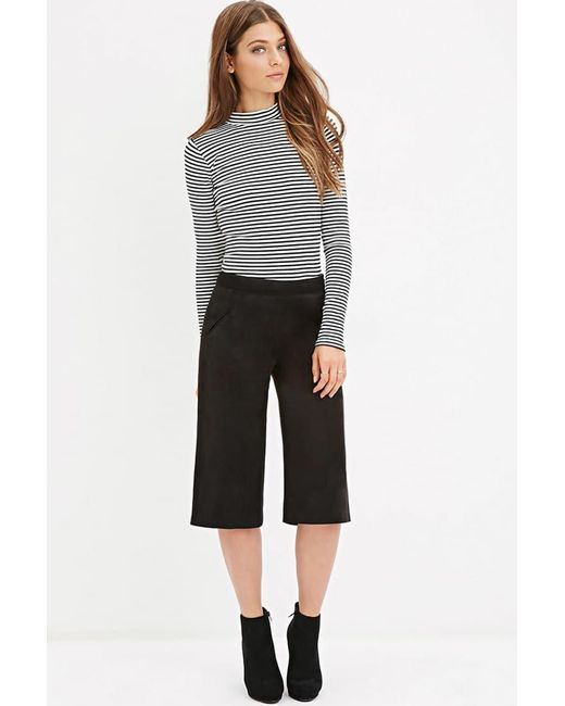 Forever 21 - Black Women's Faux Suede Culotte Trouser - Lyst