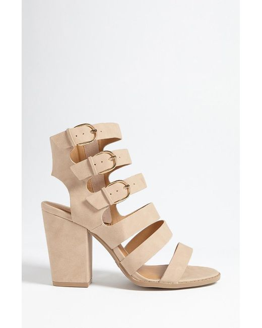 2e5f34a6828 Forever 21 - Natural Qupid Faux Suede Cutout Heels - Lyst ...