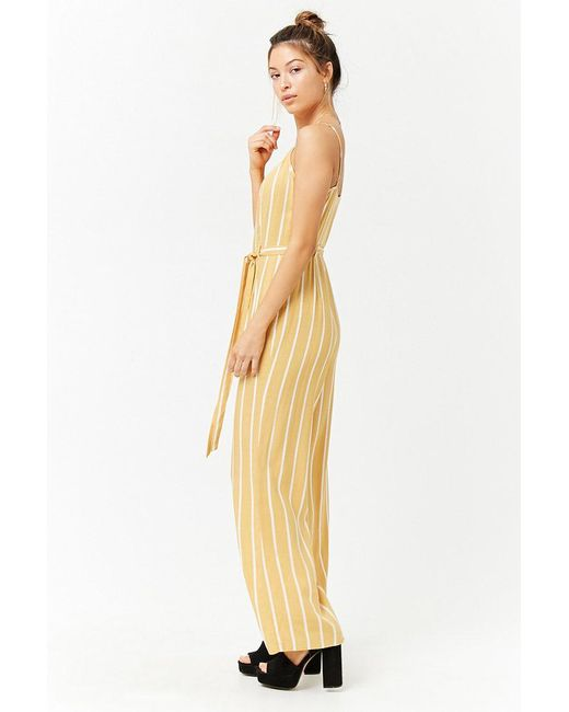 Lyst Forever 21 Striped Cami Jumpsuit In Yellow