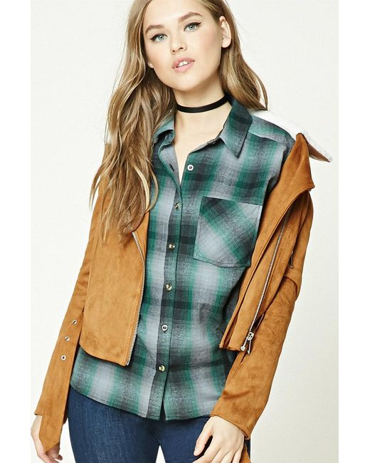 Forever 21 | Green Buffalo Plaid Flannel Shirt | Lyst