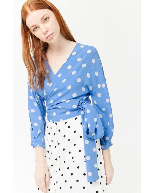Forever 21 - Blue Women's Polka Dot Wrap Top - Lyst