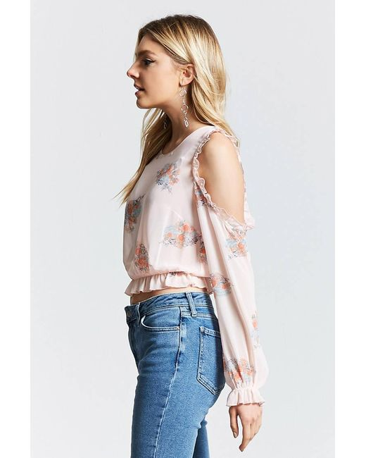 ... Forever 21   Pink Floral Chiffon Cutout Top   Lyst ...