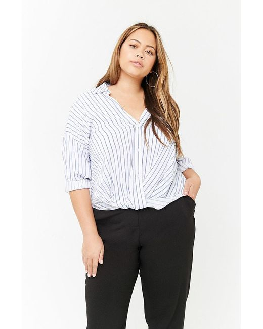 364536cef05603 Forever 21 - White Women s Plus Size Striped Shirt - Lyst ...