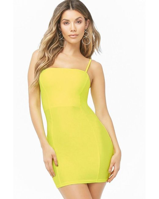 3db65eccc8d Forever 21 - Yellow Neon Lace-up Mini Bodycon Dress - Lyst ...