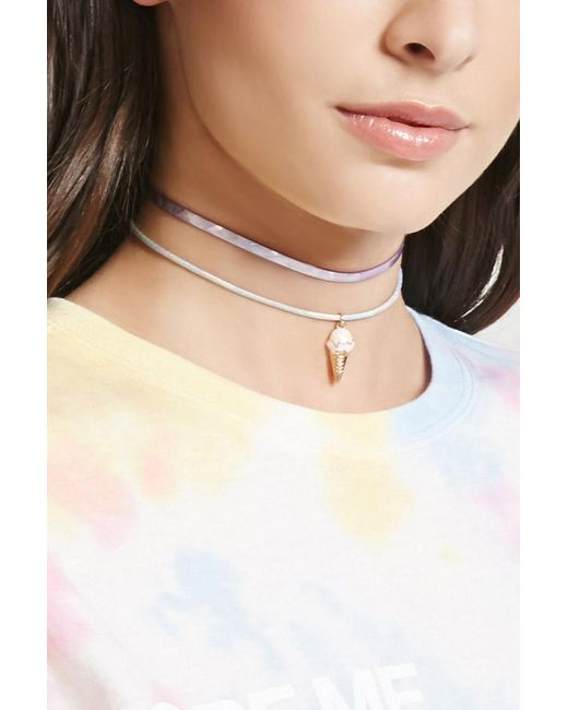 Forever 21 | Natural Holographic Ice Cream Choker Set | Lyst