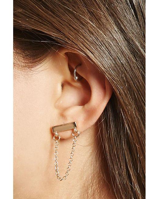 Forever 21   Metallic Draped Chain Drop Earrings   Lyst