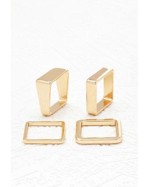 Forever 21 | Metallic Square Ring Set | Lyst
