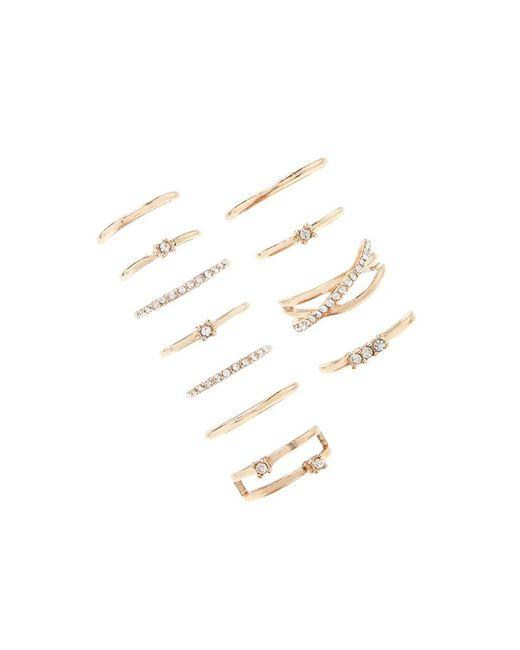 Forever 21 | Metallic Rhinestone Midi Ring Set | Lyst