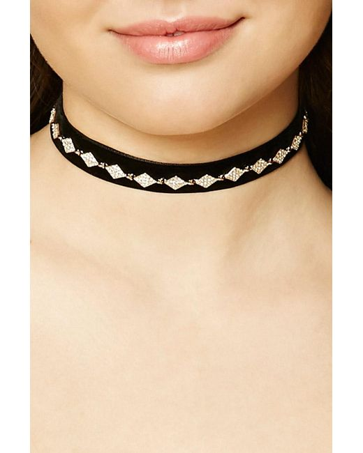 Forever 21 | Black Faux Gem Diamond Choker | Lyst