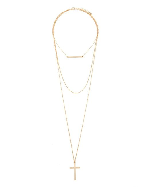 Forever 21   Metallic Layered Cross Pendant Necklace   Lyst