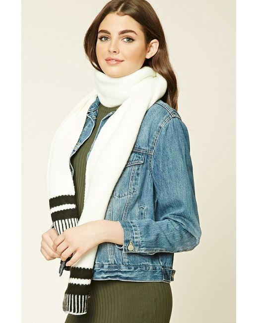 Forever 21 | Black Striped Oblong Scarf | Lyst