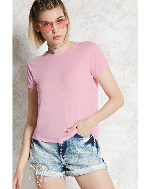 Forever 21 - Pink Contemporary Burnout Tee - Lyst