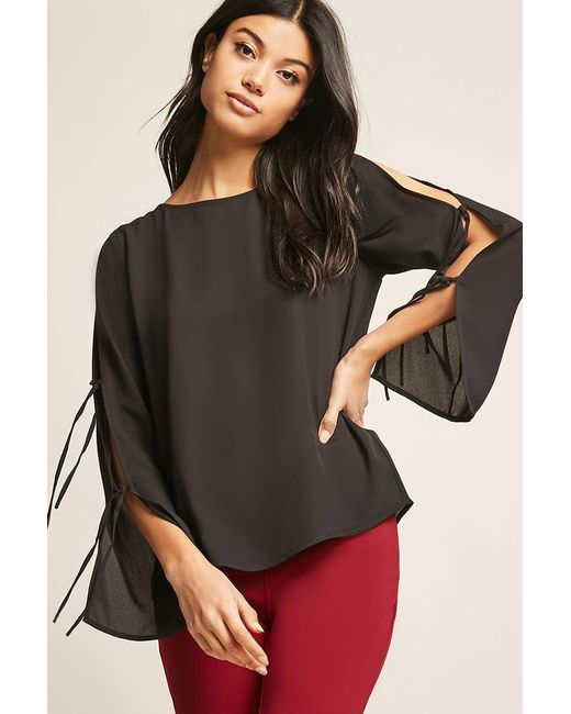 Forever 21 - Black Crepe Split-sleeve Top - Lyst