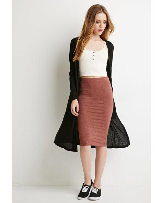 Forever 21 | Brown Stretch Knit Pencil Skirt | Lyst