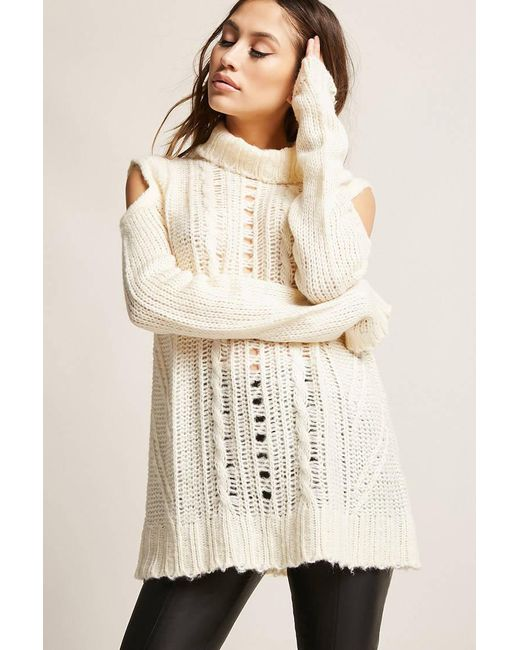 Lyst Forever 21 Open Shoulder Cable Knit Top In Natural
