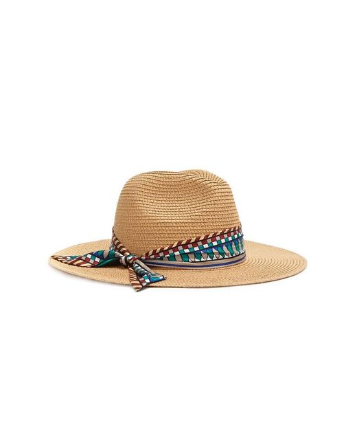 ... Forever 21 - Natural Scarf-trim Straw Panama Hat - Lyst e173480dc248