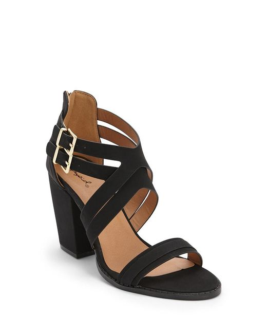 46ece0d6dc9 ... Forever 21 - Black Qupid Strappy Faux Nubuck Leather Heels - Lyst