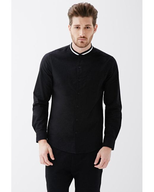 Forever 21 - Black Varsity-striped Collar Shirt for Men - Lyst
