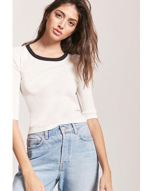 fc5a70871dd36a Forever 21 - White Ribbed Knit Tee - Lyst ...