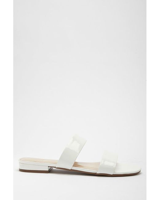 Forever 21 - White Faux Patent Leather Double-strap Slides - Lyst