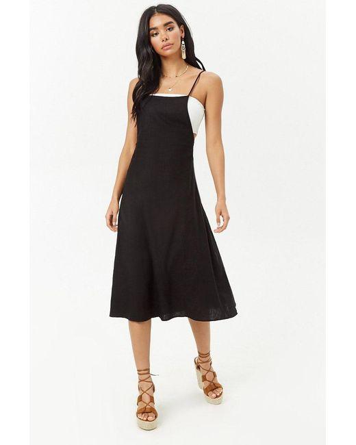 Forever 21 - Black Women's Pinafore Midi Dress - Lyst