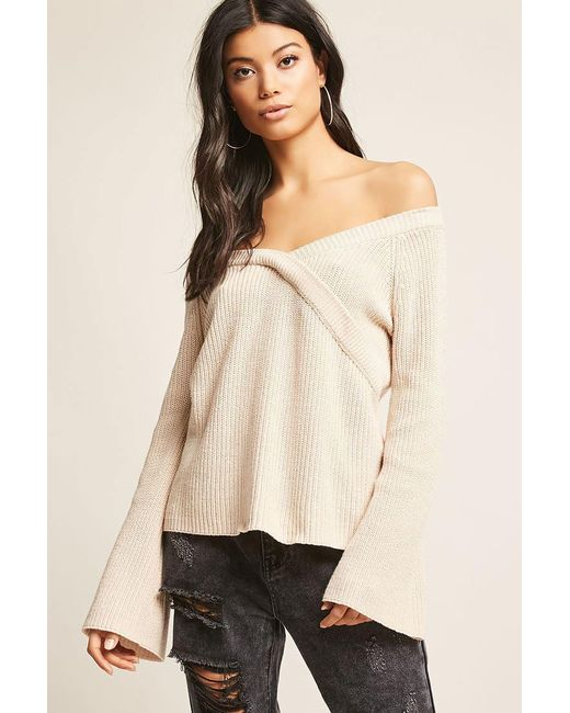 Forever 21 Ribbed Sweater Knit Top In White Lyst