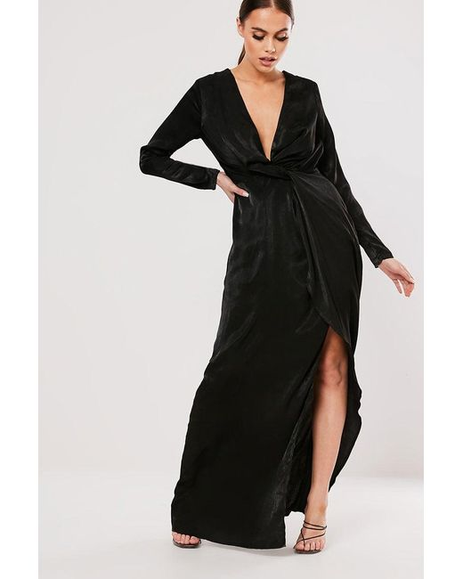Missguided - Black Plunging Maxi Dress At - Lyst