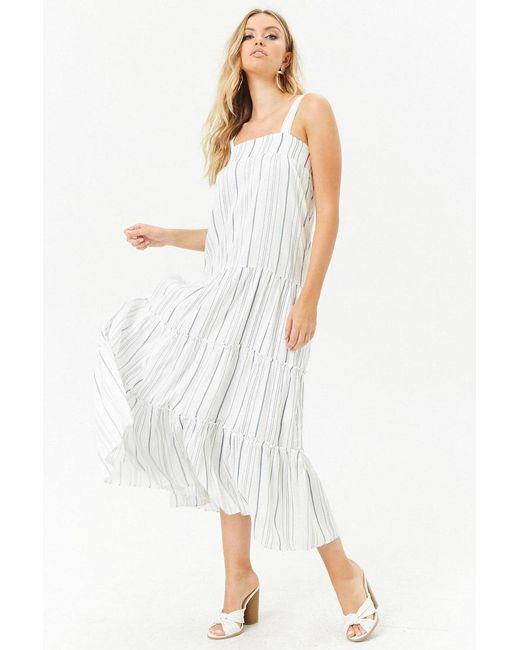 Forever 21 - White Shirred Striped Midi Dress - Lyst