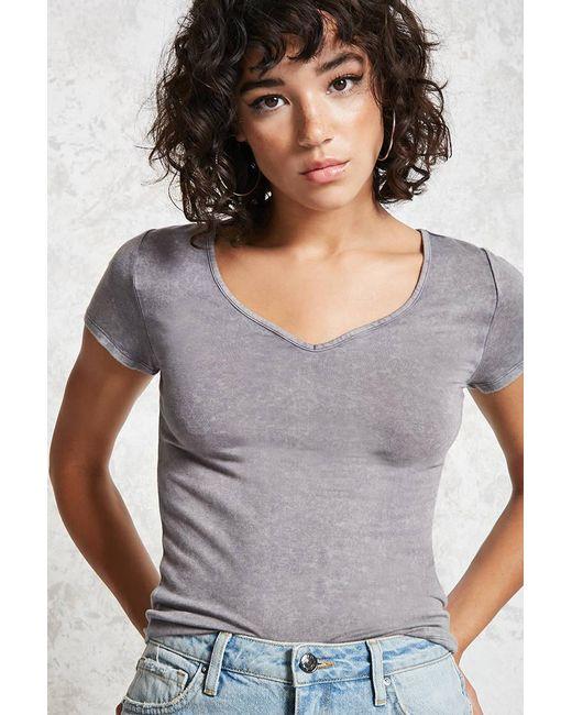 Forever 21   Gray V-neckline Top   Lyst