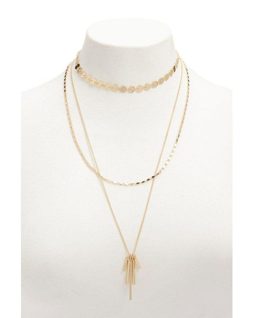 Forever 21 - Metallic Layered Matchstick Pendant Necklace - Lyst