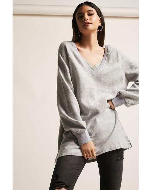 Forever 21 - Gray Fleece Lace-trim Top - Lyst