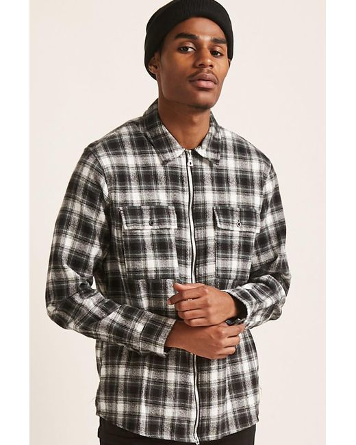 c53d282fd1 Forever 21 - Black  s Zip-front Check Shirt for Men - Lyst ...