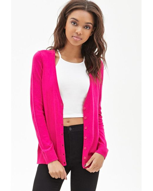 Forever 21 | Purple Classic V-neck Cardigan | Lyst