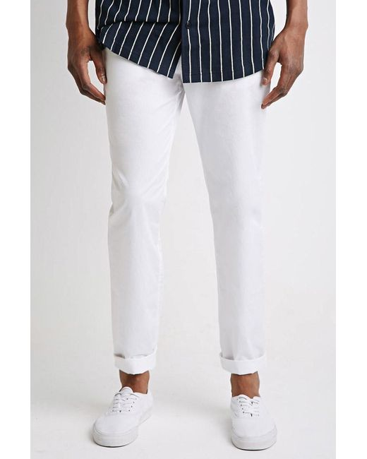 Forever 21 | White Slim Cotton Chinos for Men | Lyst