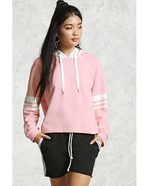 Forever 21 | Pink Varsity Drawstring Hoodie | Lyst