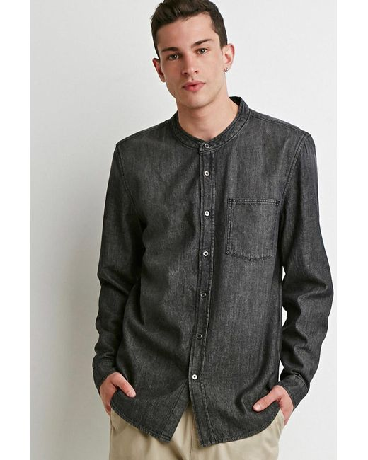 Forever 21 | Gray Mandarin Collar Denim Shirt for Men | Lyst