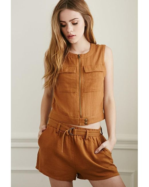 Forever 21 | Brown Belted Linen-blend Shorts | Lyst