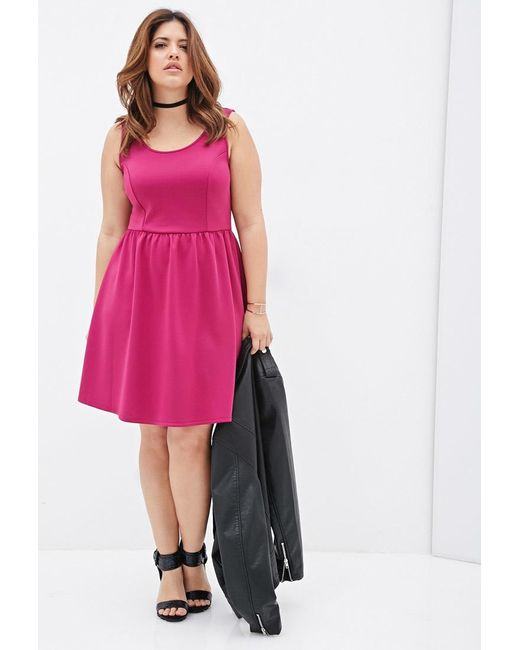 Forever 21 | Pink Plus Size Fit & Flare Scuba Knit Dress | Lyst