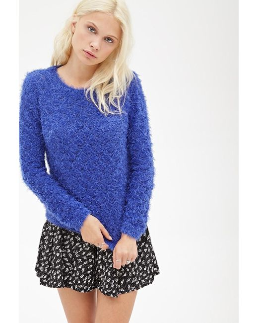 Forever 21 | Blue Fuzzy Diamond Knit Sweater | Lyst