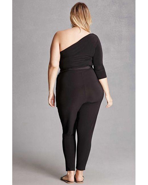 Forever 21 Plus Size One Shoulder Jumpsuit In Black Lyst