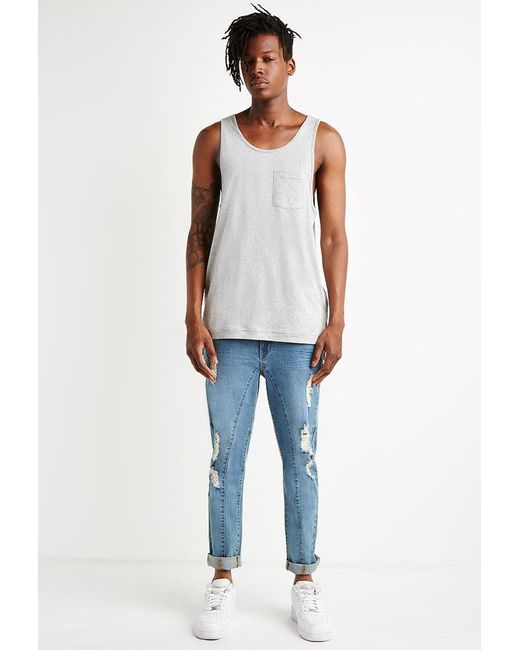 Forever 21   Blue Paneled Slim Fit Jeans for Men   Lyst