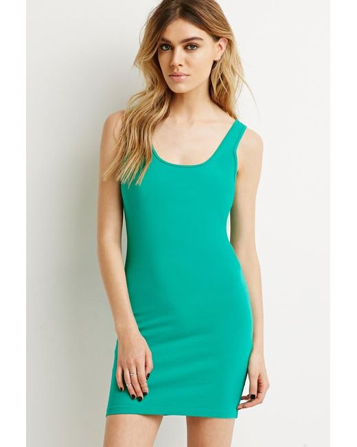 Forever 21   Green Stretch-knit Bodycon Dress   Lyst