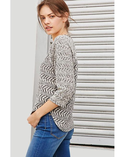 Forever 21 | Gray Chevron-patterned Raglan Top | Lyst