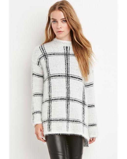 Forever 21 | White Eyelash Knit Plaid Sweater | Lyst