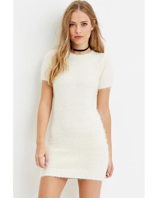 Forever 21 | Natural Fuzzy Knit Jumper Dress | Lyst